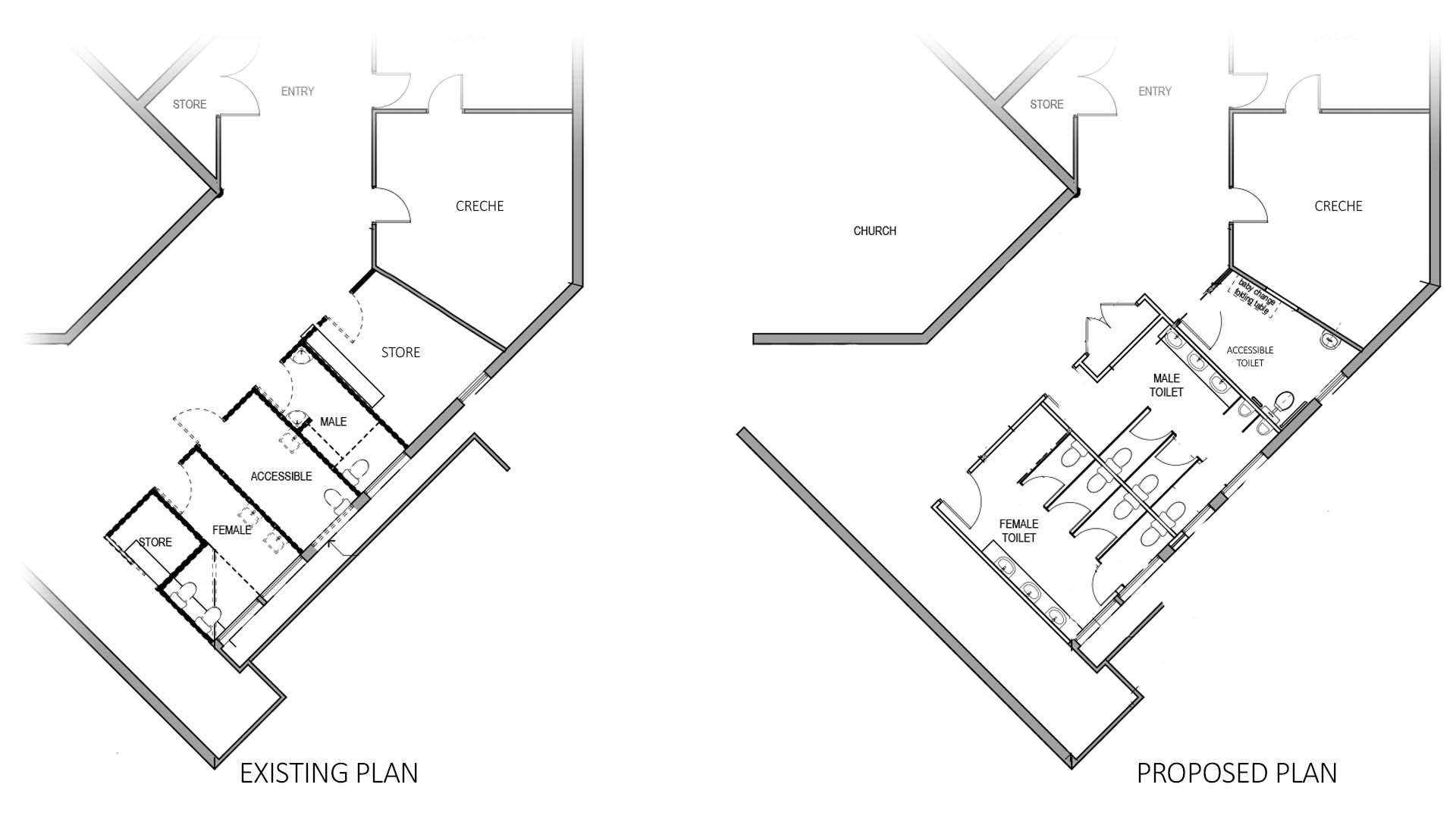 A site plan of existing and planned toilets